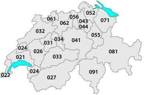 Swiss area codes